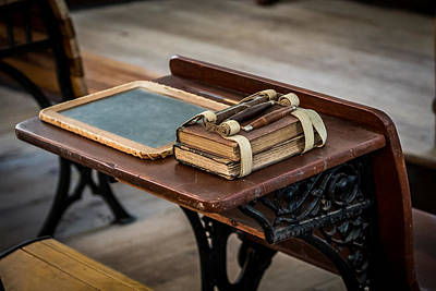 One Room School Houses Photograph - Vintage School Desk by Paul Freidlund