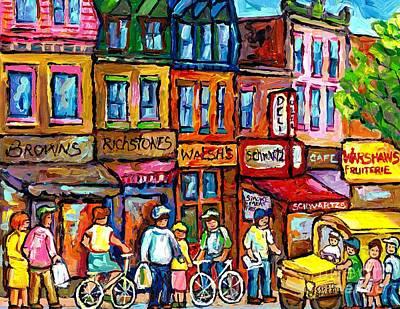 Painting - Vintage Schwatrz's Deli Painting Montreal Summer City Life Scene Yellow School Bus Carole Spandau    by Carole Spandau