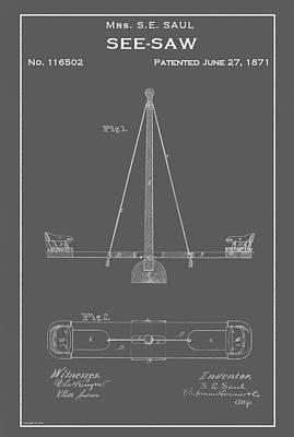 Drawing - Vintage See-saw Patent by Vintage Pix