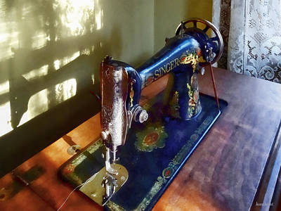 Photograph - Vintage Sewing Machine And Shadow by Susan Savad