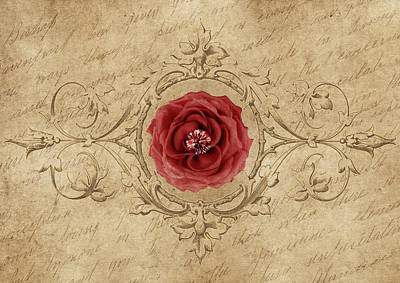 Painting - Vintage Shabby Chic Antique Red Rose by Shabby Chic and Vintage Art