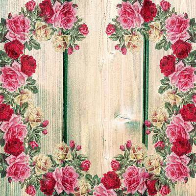Mixed Media - Vintage Shabby Chic Country Roses On Wood by Joy of Life Art Gallery