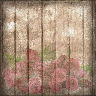 Mixed Media - Vintage Shabby Chic Country Wine Roses by Shabby Chic and Vintage Art