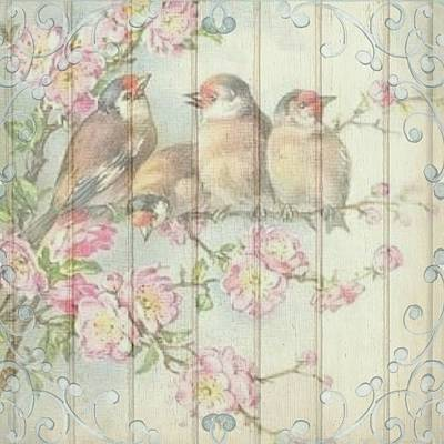 Painting - Vintage Shabby Chic Floral Faded Birds Design by Joy of Life Art