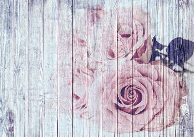 Dusky Pink Painting - Vintage Shabby Chic Rose by Joy of Life