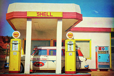 Photograph - Vintage Shell Gas Station  by Saija Lehtonen