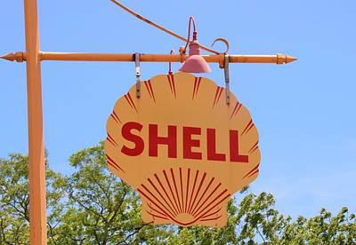 Photograph - Vintage Shell Sign by Karen Silvestri