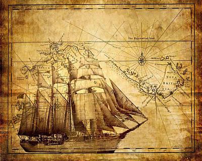Vintage Ship Map Art Print