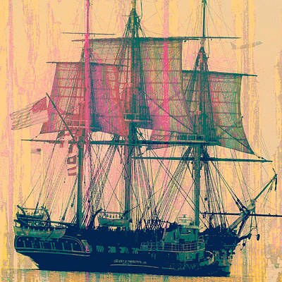 Pirate Ship Mixed Media - Vintage Ship V3 by Brandi Fitzgerald