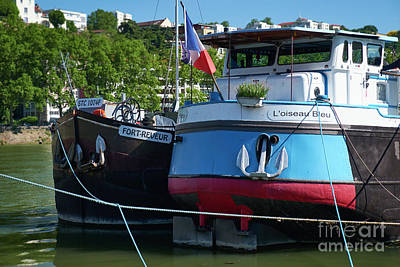 Saone River Photograph -  Vintage Ships Of Lyon by George Oze