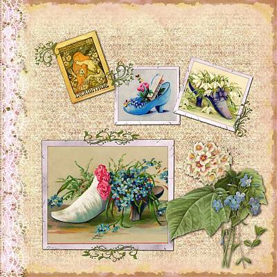 Mixed Media - Vintage Shoes And Flowers by Joy of Life Art Gallery