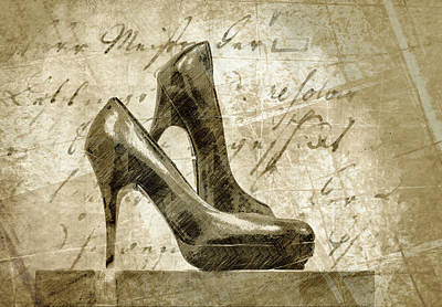 Digital Art - Vintage Shoes by Georgiana Romanovna
