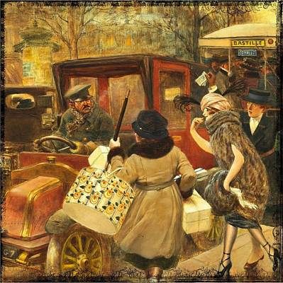 Painting - Vintage Shopping In France by Joy of Life Art Gallery