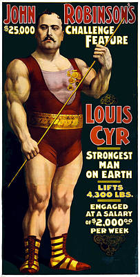 Vintage Sideshow Strongest Man On Earth Louis Cyr Art Print by Unknown