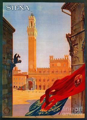 Sienna Italy Drawing - Vintage Siena Italian Travel Advertising by Heidi De Leeuw