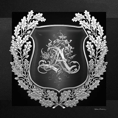 Digital Art - Vintage Silver Aa Monogram On Black Shield With Silver Oak Wreath Over Black Canvas by Serge Averbukh