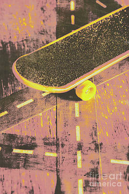 Faded Photograph - Vintage Skateboard Ruling The Road by Jorgo Photography - Wall Art Gallery