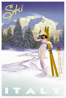 Winter Sports Painting - Vintage Skiing Glamour by Mindy Sommers
