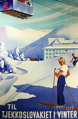 Eastern European Painting - Vintage Skiing Poster by Tina Lavoie