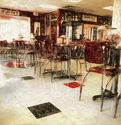 Mixed Media - Vintage Small Town Diner by Dan Sproul