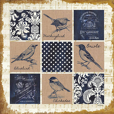 Vintage Songbird Patch 2 Art Print by Debbie DeWitt