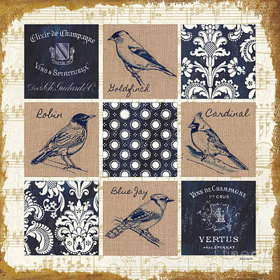 Pen And Ink Drawing Painting - Vintage Songbirds Patch by Debbie DeWitt