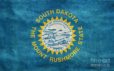 Old South Photograph - Vintage South Dakota Flag by Jon Neidert