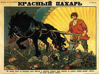Mixed Media - Vintage Soviet Propaganda Poster - Russian Farmer With His Horse by Studio Grafiikka