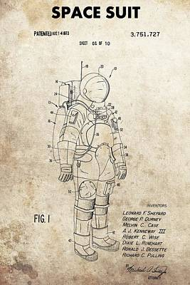 Interstellar Space Drawing - Vintage Space Suit Patent by Dan Sproul