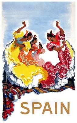 Flamenco Digital Art - Vintage Spain Flamenco Dancers Travel Poster by Retro Graphics