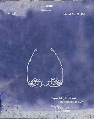 Optometry Digital Art - Vintage Spectacles Patent 1841 In Blue Grunge by Bill Cannon