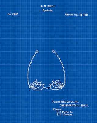 Optometry Digital Art - Vintage Spectacles Patent 1841 In Blue Print by Bill Cannon
