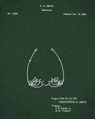 Optometry Digital Art - Vintage Spectacles Patent 1841 In Green by Bill Cannon