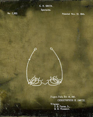 Optometry Digital Art - Vintage Spectacles Patent 1841 In Grunge by Bill Cannon