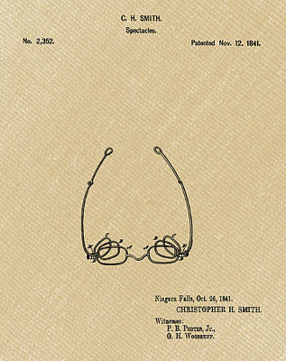 Optometry Digital Art - Vintage Spectacles Patent 1841 In Light Sepia by Bill Cannon