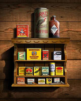 Historic Home Digital Art - Vintage Spice Tins 2 - Nostalgic Spice Rack - Americana Kitchen Art Decor  by Walt Curlee