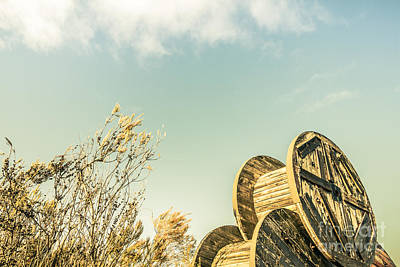 Photograph - Vintage Spools And Farmyard Skies by Jorgo Photography - Wall Art Gallery