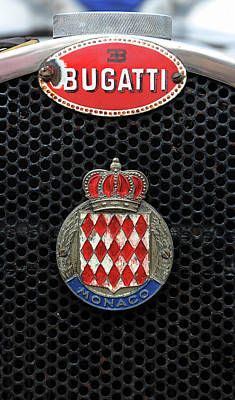 Photograph - Vintage Sports Car Radiator Grill Bugatti Monaco Badges  by Tom Conway