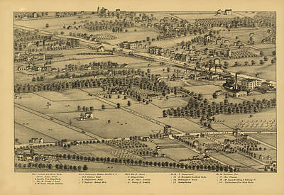 Plan Mixed Media - Vintage St Louis Map - 1875 by Camille Dry