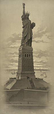 Statue Of Liberty Mixed Media - Vintage Statue Of Liberty by War Is Hell Store