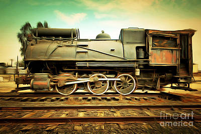 Photograph - Vintage Steam Locomotive 5d28362brun by Home Decor