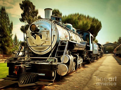 Photograph - Vintage Steam Locomotive 5d29135brun by Home Decor