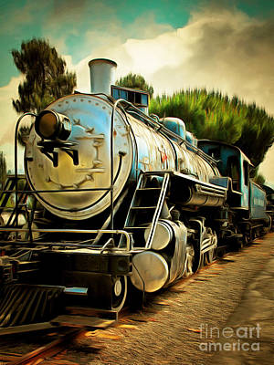 Photograph - Vintage Steam Locomotive 5d29138brun by Home Decor