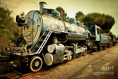 Photograph - Vintage Steam Locomotive 5d29142brun by Home Decor