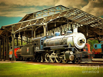 Photograph - Vintage Steam Locomotive 5d29281brun by Home Decor