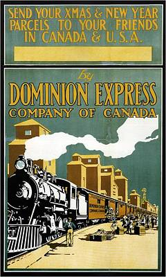 Royalty-Free and Rights-Managed Images - Vintage Steam Locomotive - Dominion Express - Usa and  Canada - Vintage Advertising Poster by Studio Grafiikka