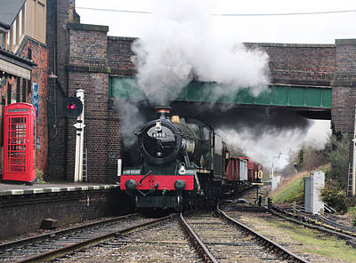 Photograph - Vintage Steam Railway Train At The Station by Tom Conway