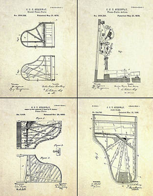 Vintage Steinway 4 Panel Patent Art Art Print