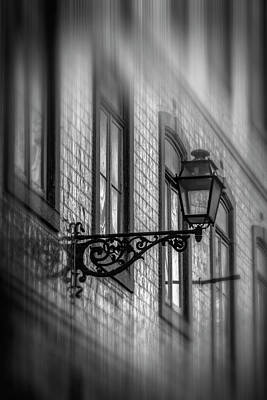 Photograph - Vintage Street Lamp In Lisbon Portugal In Black And White  by Carol Japp