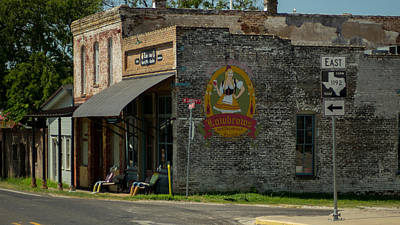 Vanishing Storefronts Photograph - vintage street scene and Texas highway sign by Trace Ready